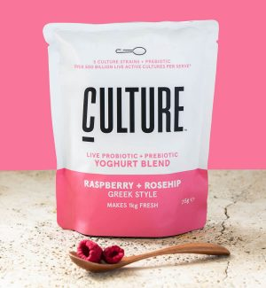 Culture Yoghurt Pack Shot Raspberry and Rosehip